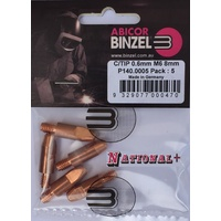 0.6mm Steel M6 8mm 28mm Binzel contact tip Pk:5 P140.0005