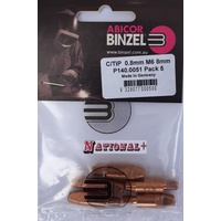 0.8mm Steel M6 8mm 28mm Binzel contact tip Pk:5 P140.0051