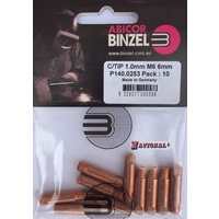 1.0mm Steel M6 6mm 25mm Binzel contact tip Pk:10 P140.0253