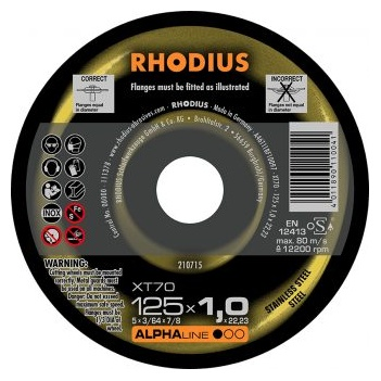 Rhodius 125x1.0x22.23mm    Cutting Disc XT70   Pack of  10 Pieces