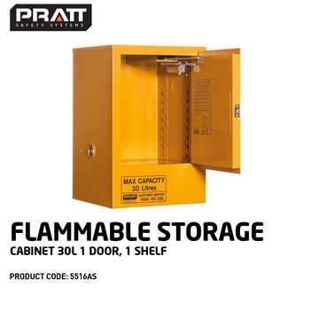 Flammable Liquid Storage Cabinet 30 Litres 1 Door 1 Shelf 5516AS