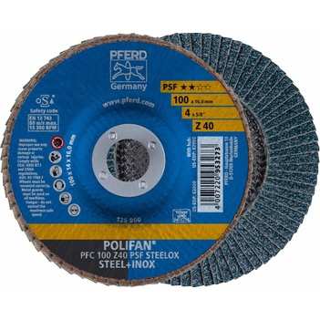 "Flap Disc Polifan 100mm 4"" 40G GP Zirconia Inox Pferd 67764100 Pack of 5"