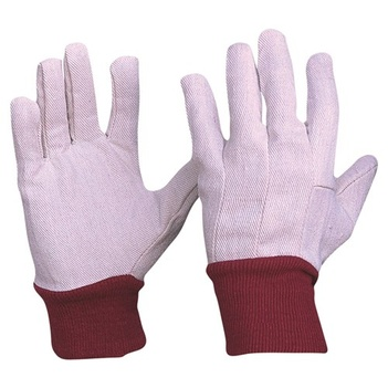 Cotton Drill Red Knit Wrist Gloves Ladies Size Pro Choice CDR9