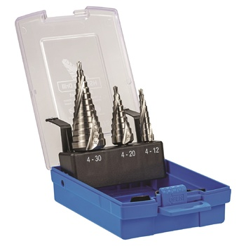 Sutton Tools D504SET3 HSS Step Drill Set 3 Piece 4-12mm 4-20mm 4-30mm Metric Steps