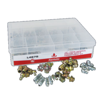 Industrial Grease Nipple Assortment Kit 101 Piece Alemlube L4675