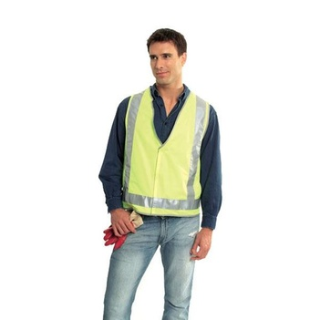 Small Safety Vest Fluoro Yellow Ref Trim Style 2 Class D/N SV2510S